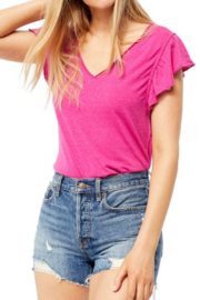 Free People Flutter sleeves add movement to this t-shirt by  that features a heathered finish for a vintage look. - Side cropped