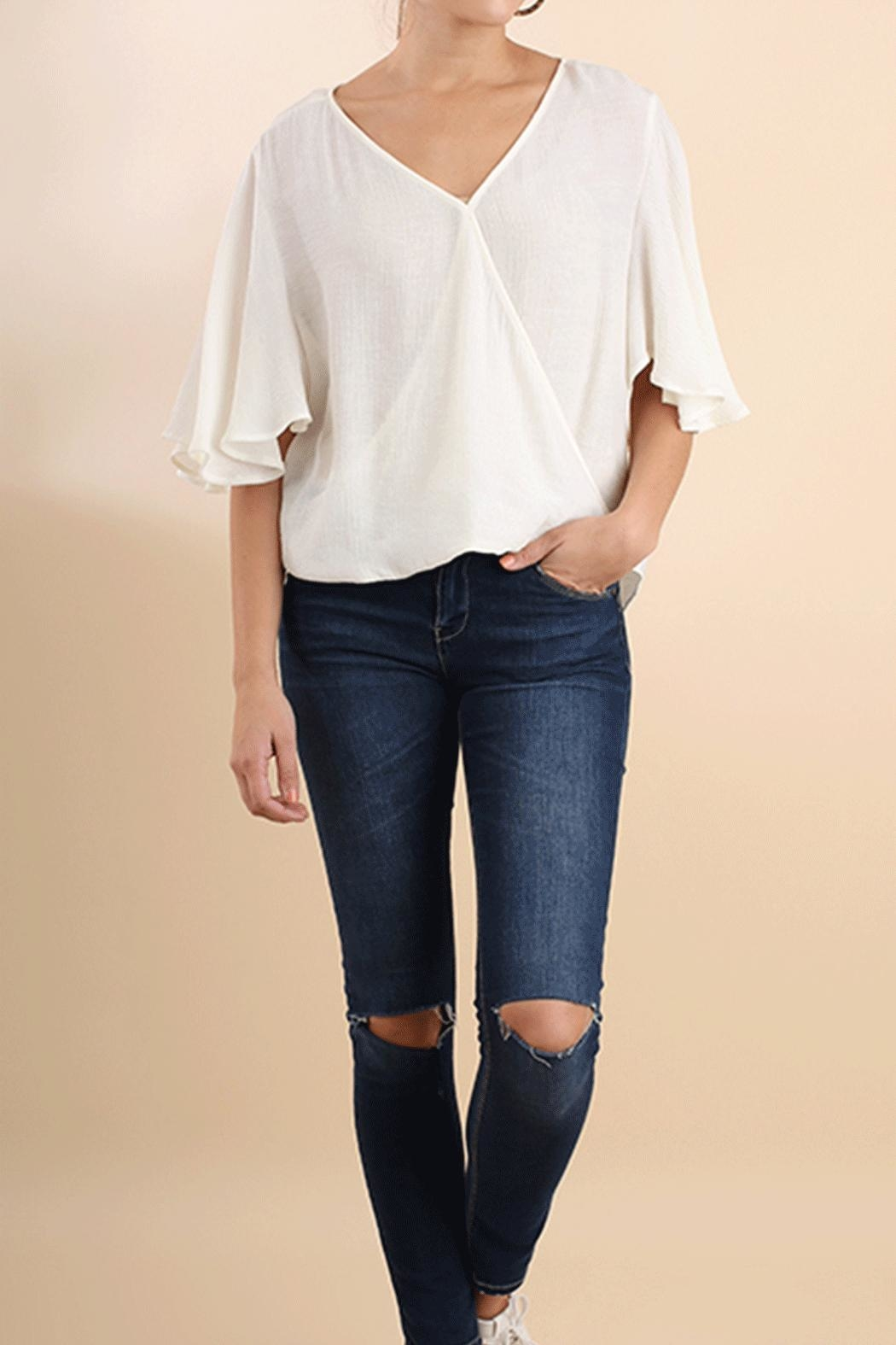 Umgee USA Flutter Surplice Top - Front Cropped Image