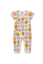 Tea Collection  Flutter Wrap Baby Romper - Rainbow Animals - Product Mini Image
