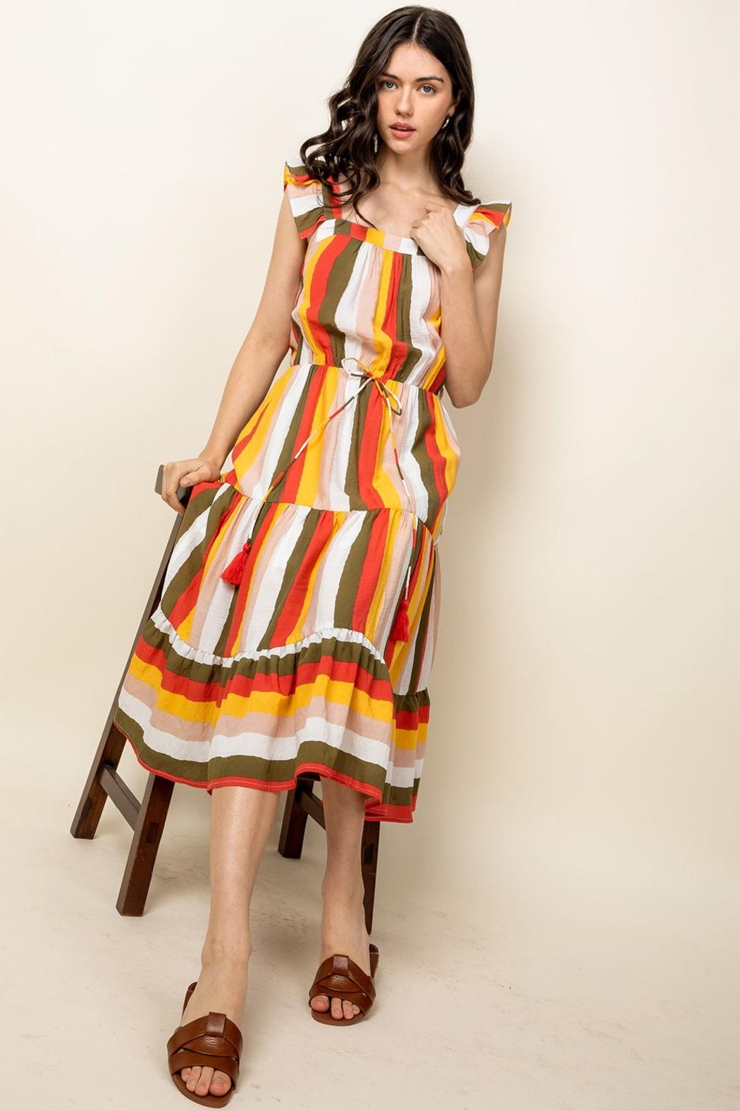 Thml Fluttery Mixed Print Midi Dress - Side Cropped Image