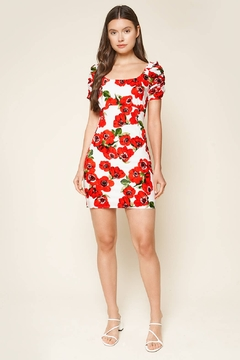 Sugarlips Fly Away Floral Print Ruched Sleeve Mini Dress - Product List Image