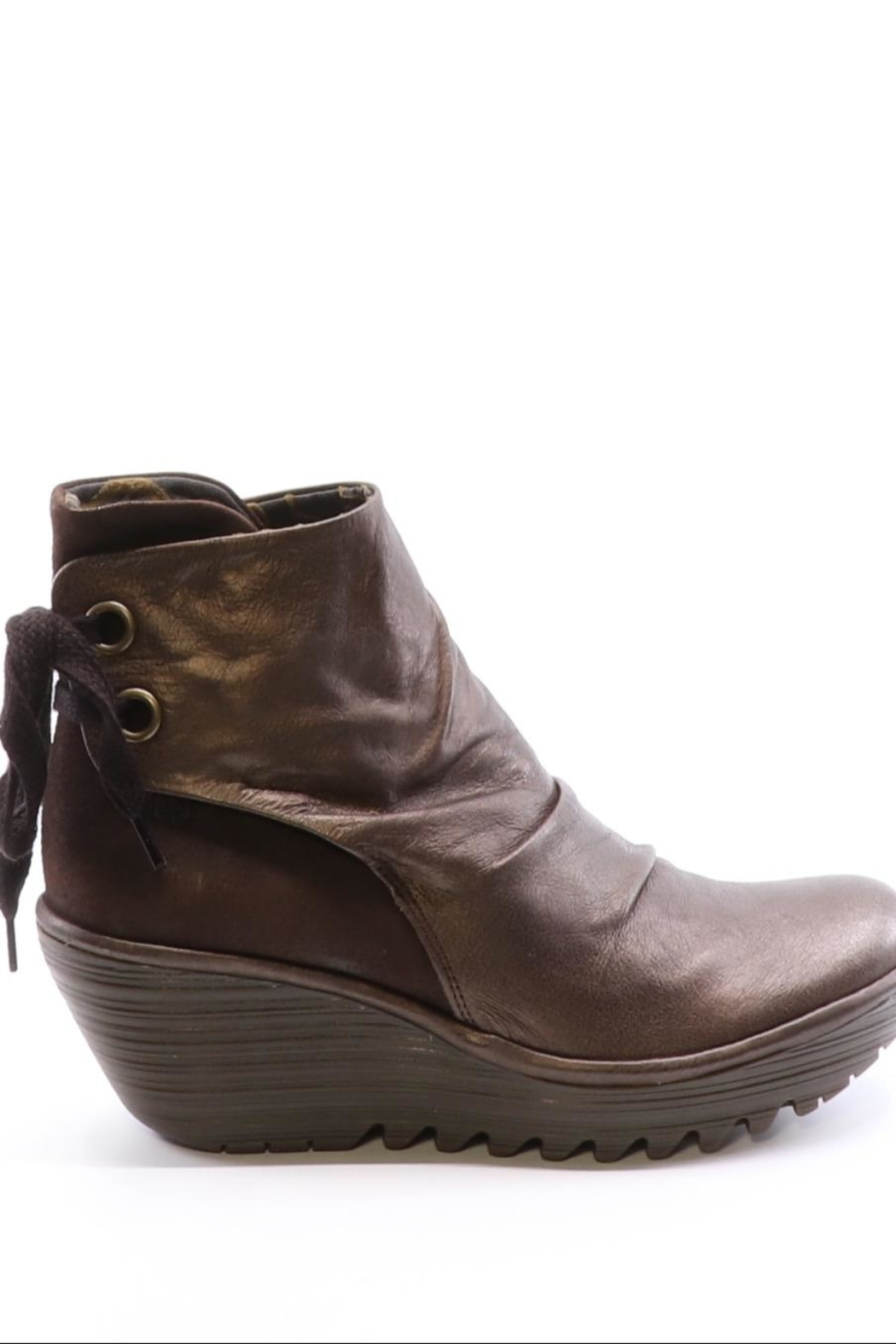 Fly London Leather Wedge Bootie - Front Full Image