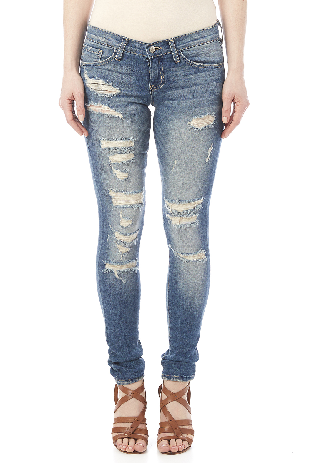 Flying Monkey Distressed Skinny Jean - Side Cropped Image