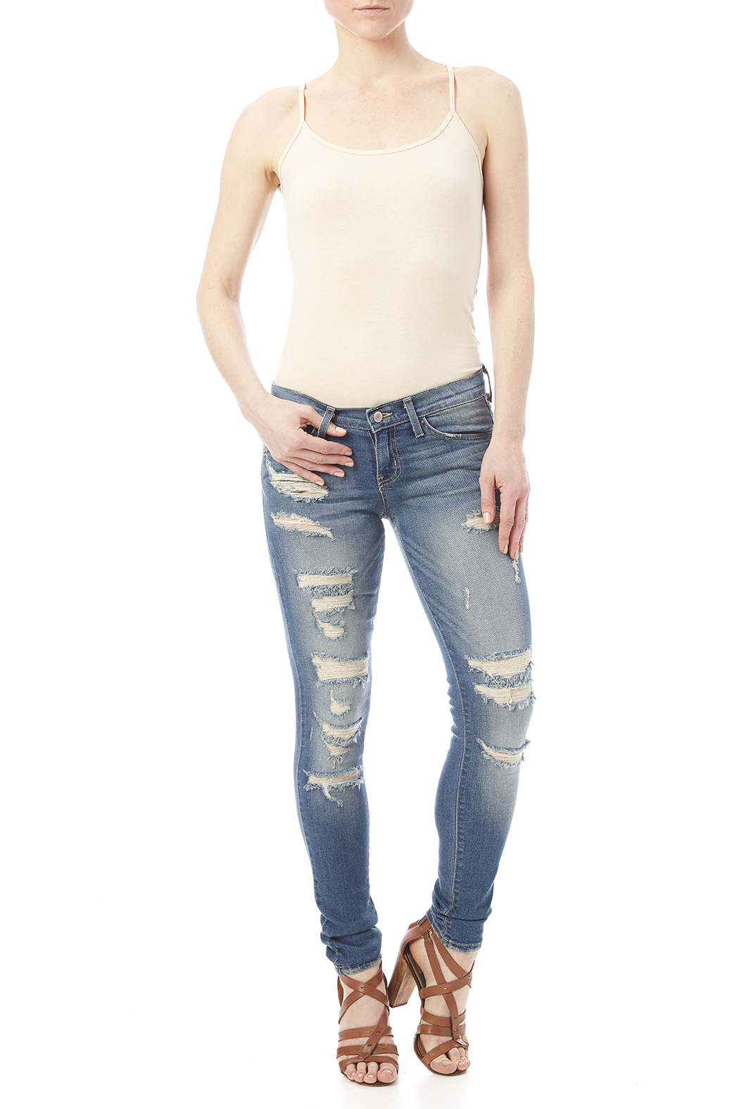Flying Monkey Distressed Skinny Jean - Front Full Image