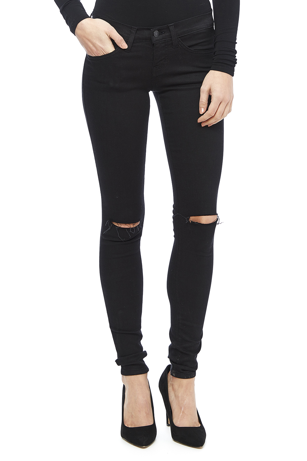 Jet Black Distressed Skinny Jean