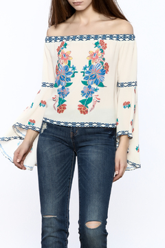 Shoptiques Product: Embroidered Off The Shoulder Top