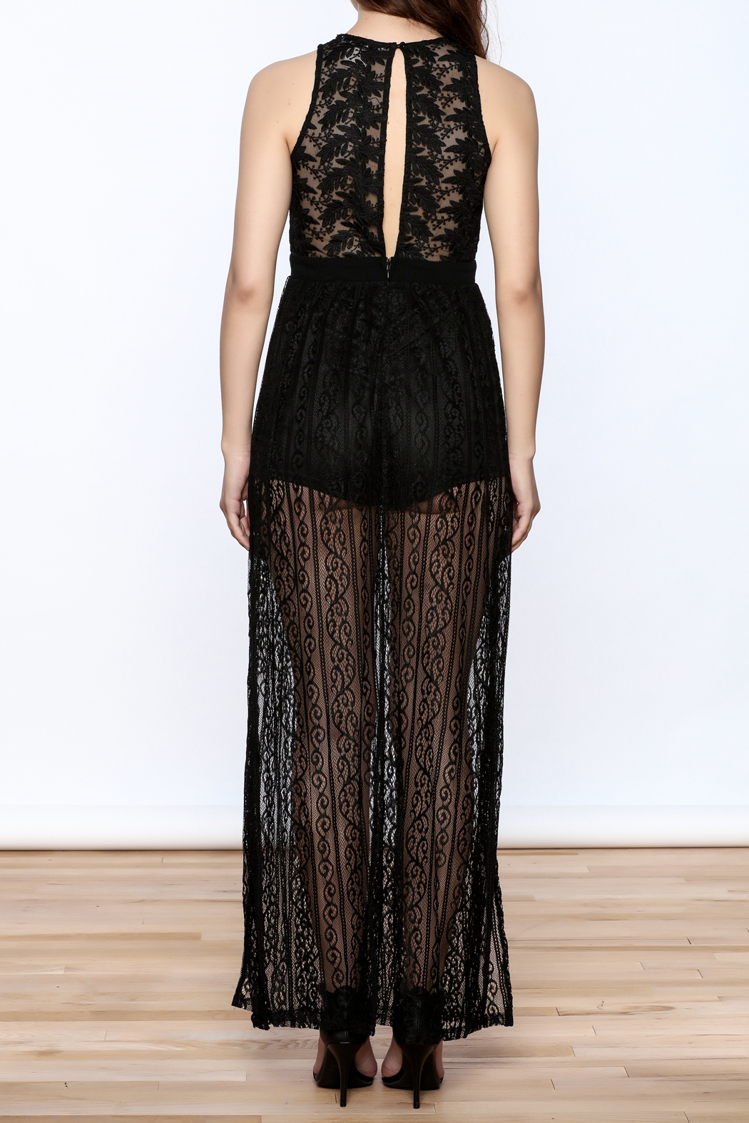 Flying Tomato Black Lace Dress - Back Cropped Image