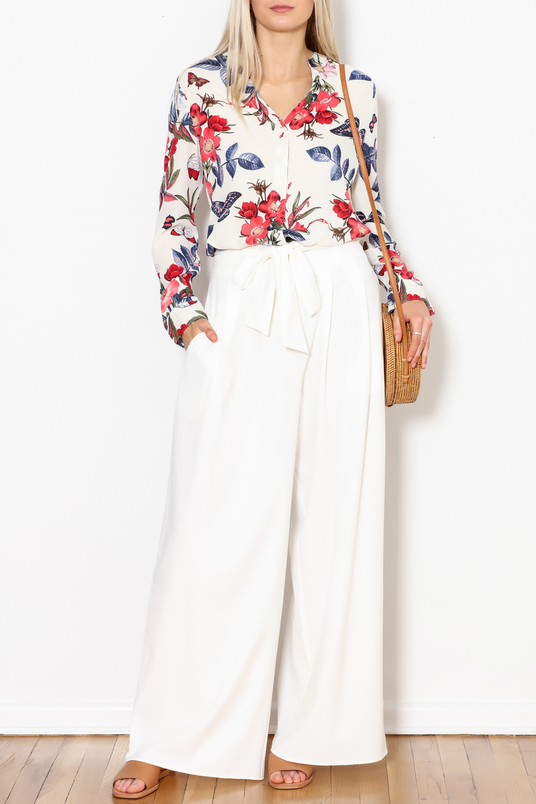 Flying Tomato White Palazzo Pants - Side Cropped Image