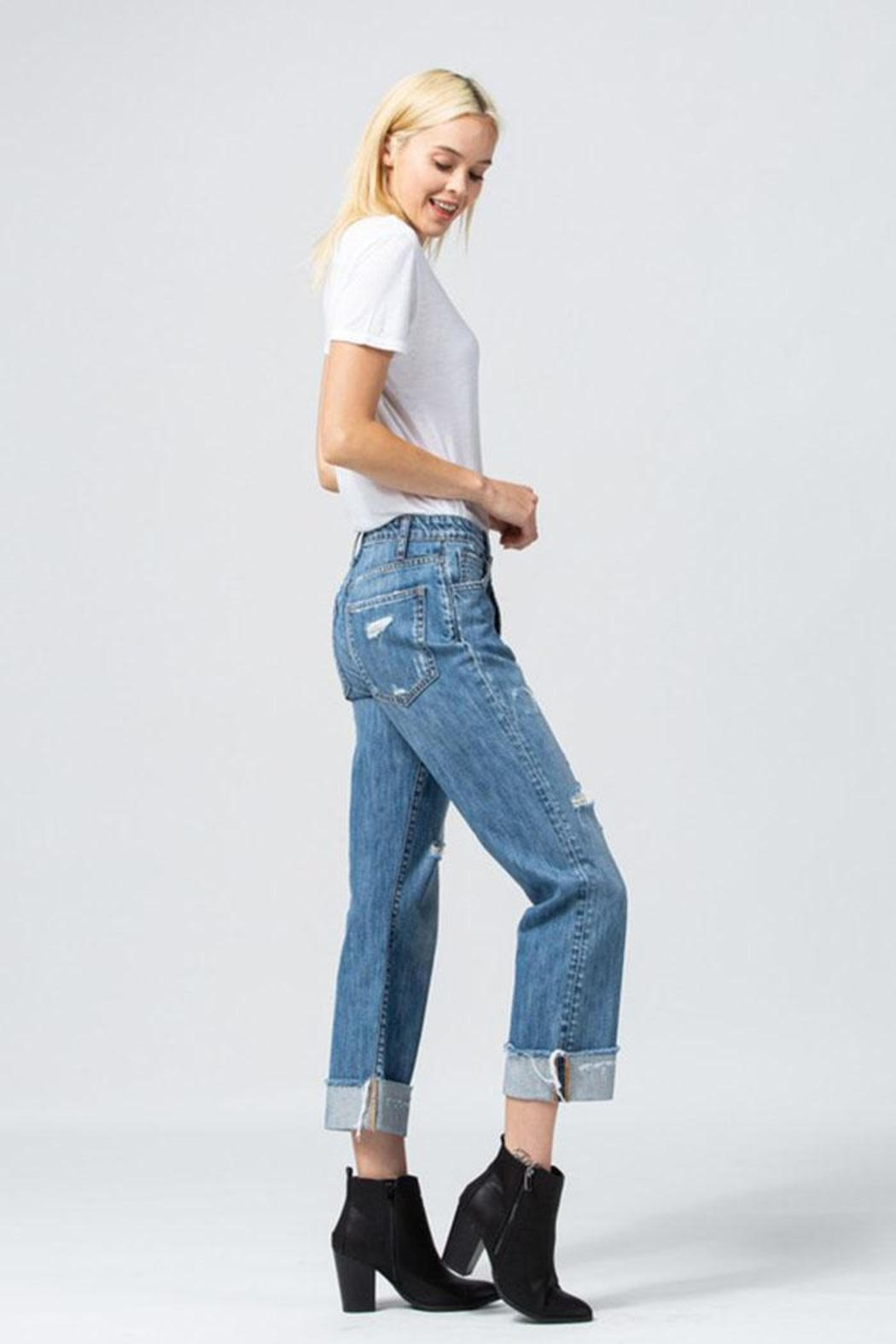 Flying Monkey Asymmetrical Waistband Jeans - Side Cropped Image