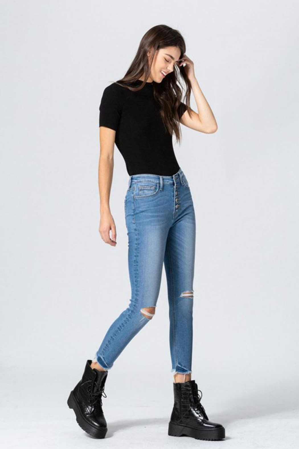Flying Monkey Button Skinny Jeans - Side Cropped Image