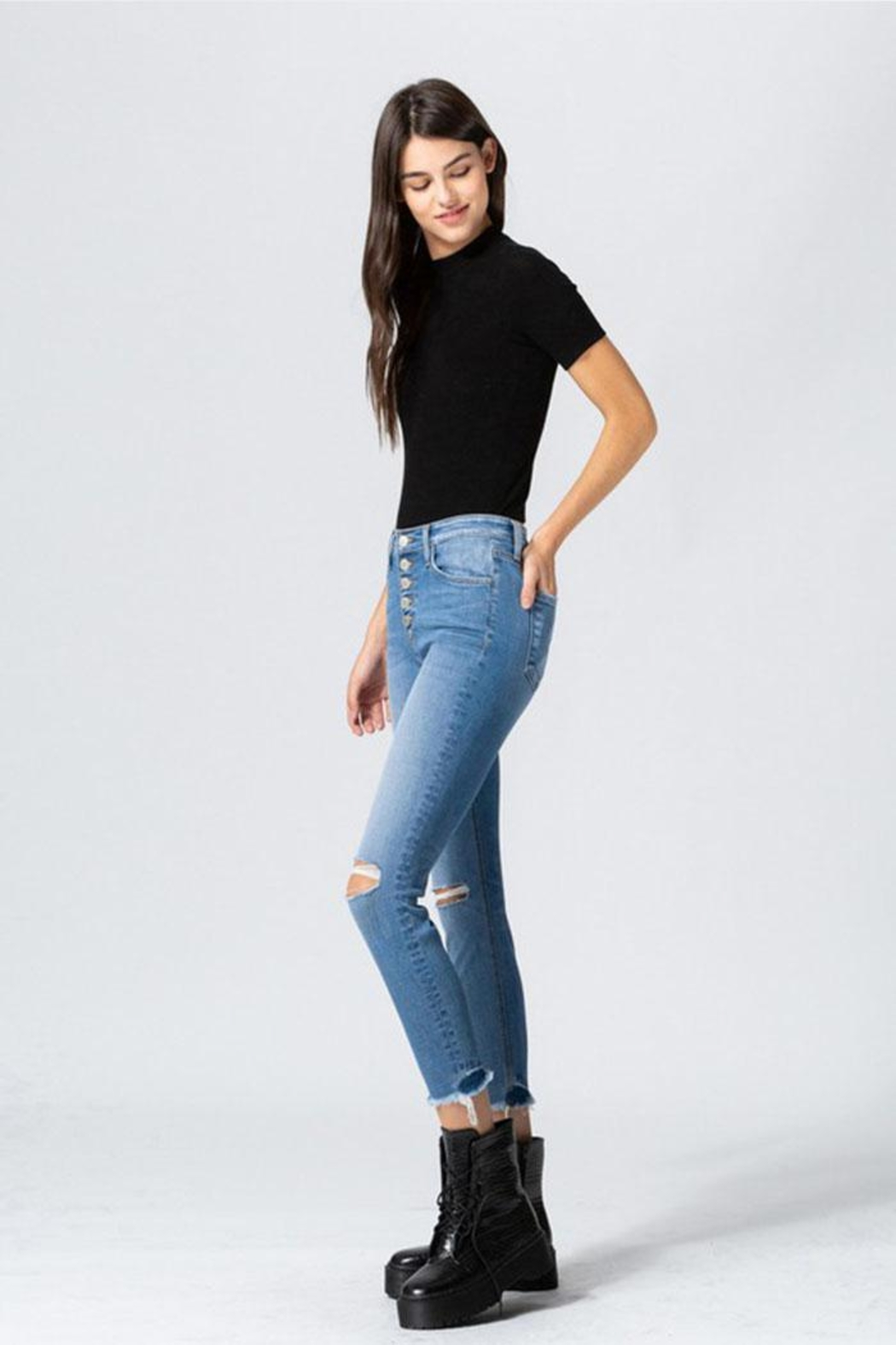 Flying Monkey Button Skinny Jeans - Front Full Image