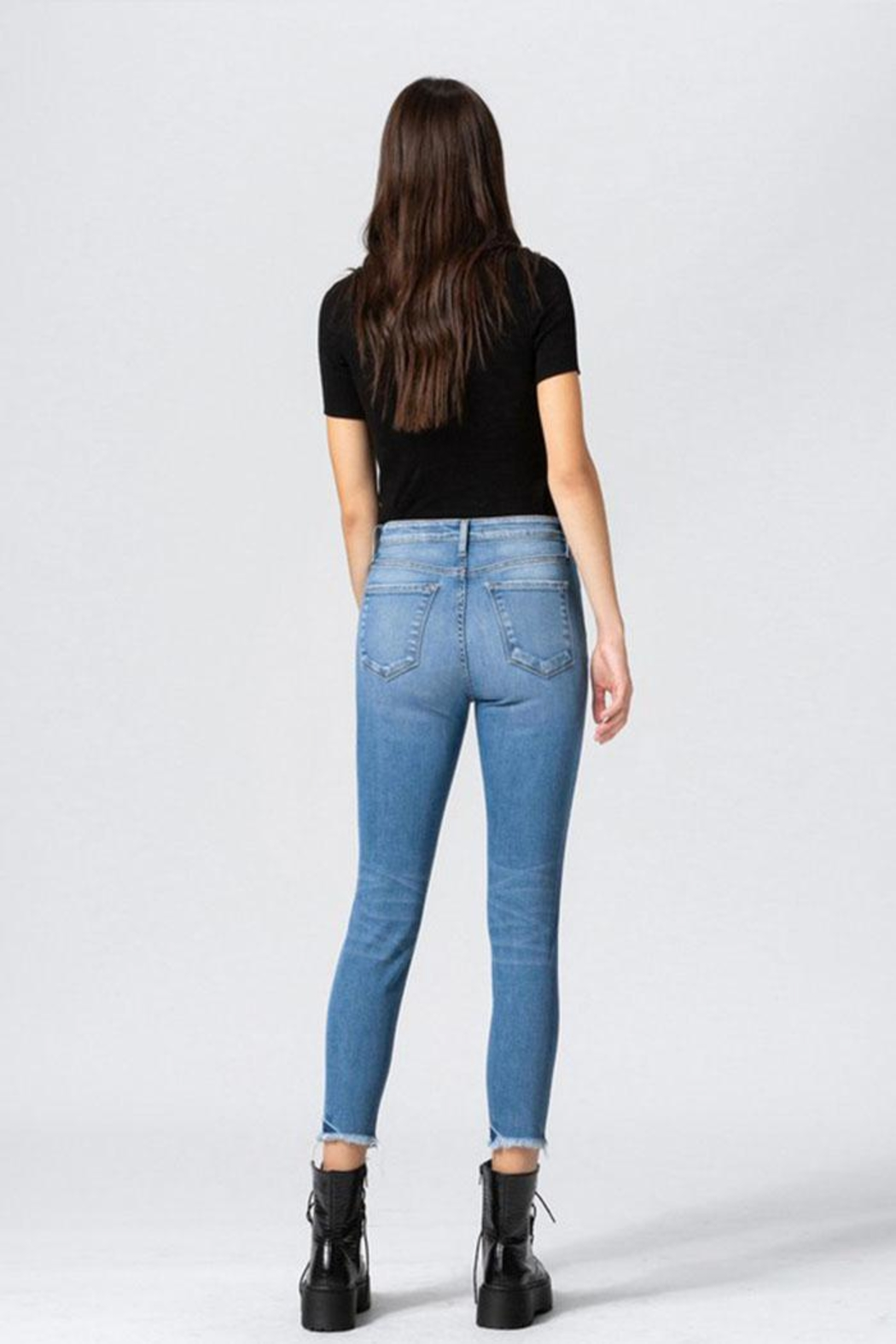 Flying Monkey Button Skinny Jeans - Back Cropped Image