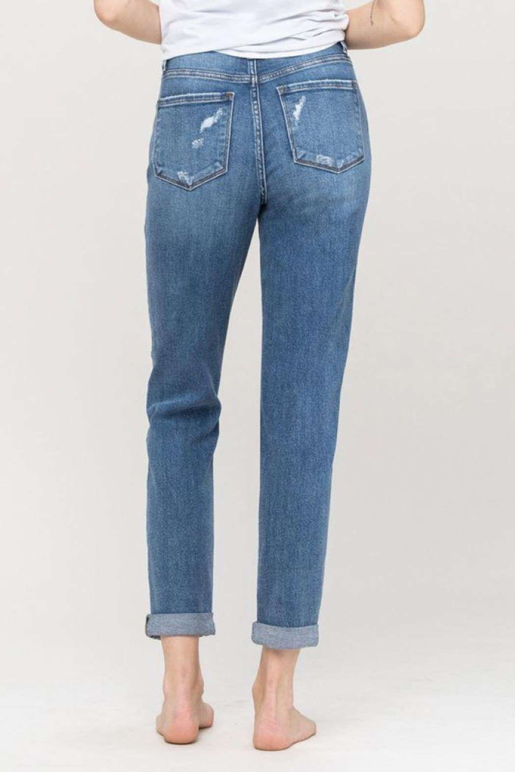 Flying Monkey Distressed Double Cuffed Stretch Mom Jean - Back Cropped Image