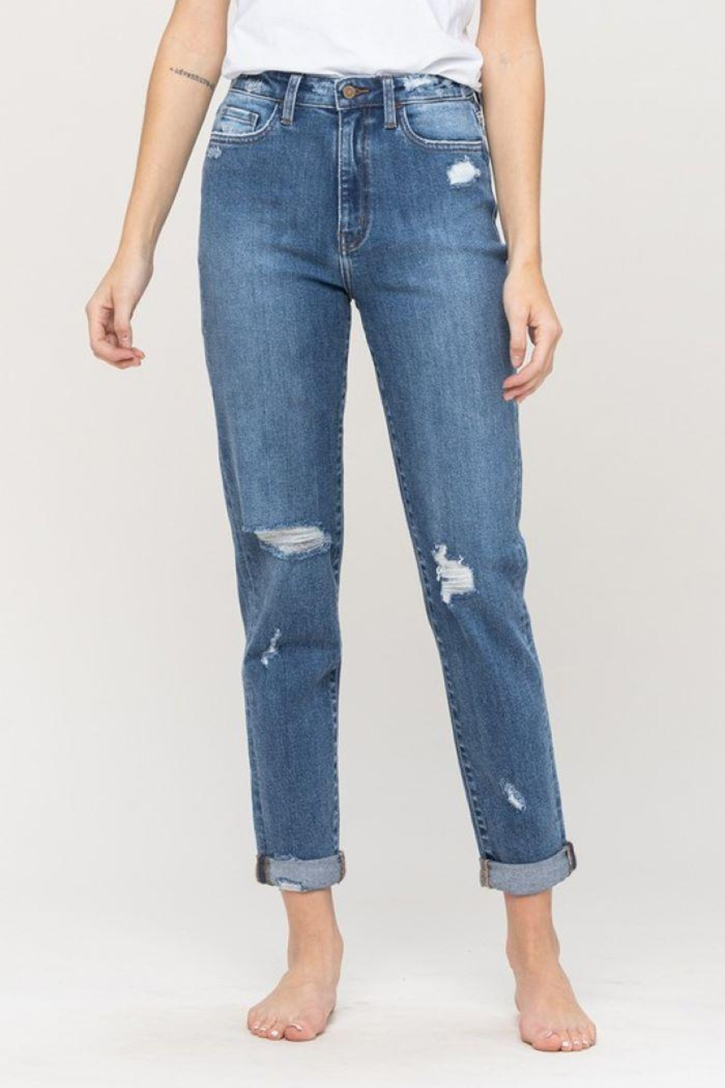 Flying Monkey Distressed Double Cuffed Stretch Mom Jean - Main Image
