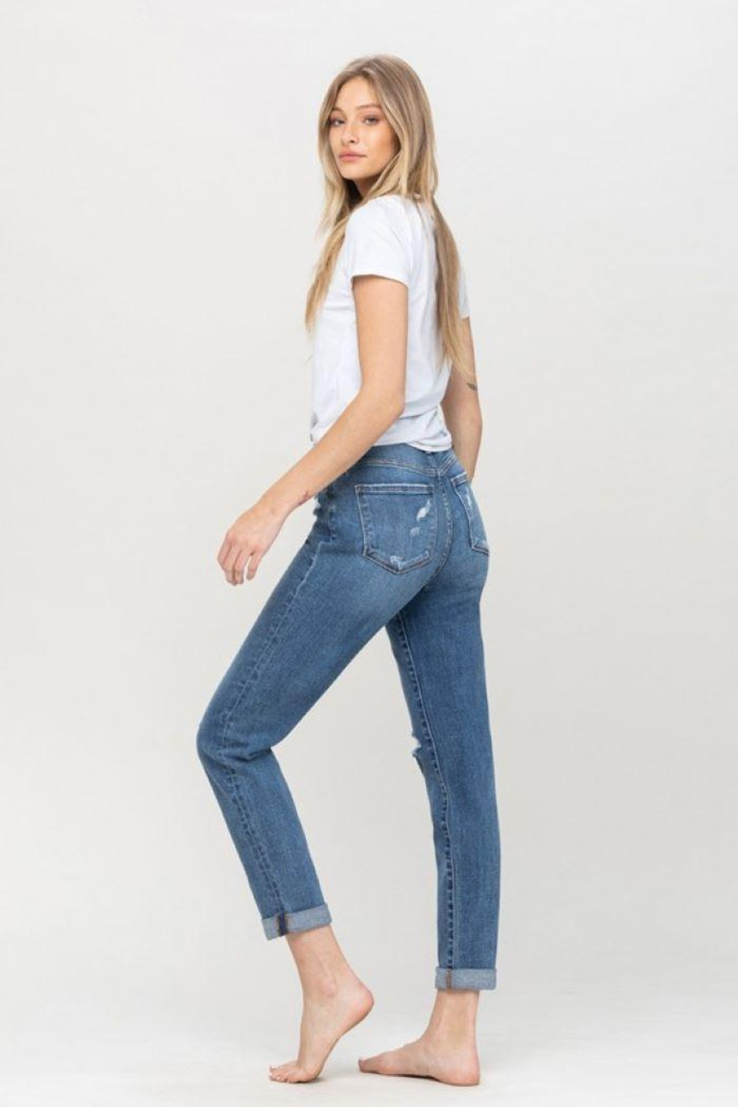 Flying Monkey Distressed Double Cuffed Stretch Mom Jean - Front Full Image
