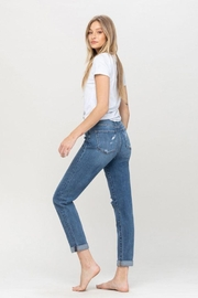 Flying Monkey Distressed Double Cuffed Stretch Mom Jean - Front full body