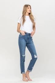 Flying Monkey Distressed Double Cuffed Stretch Mom Jean - Other