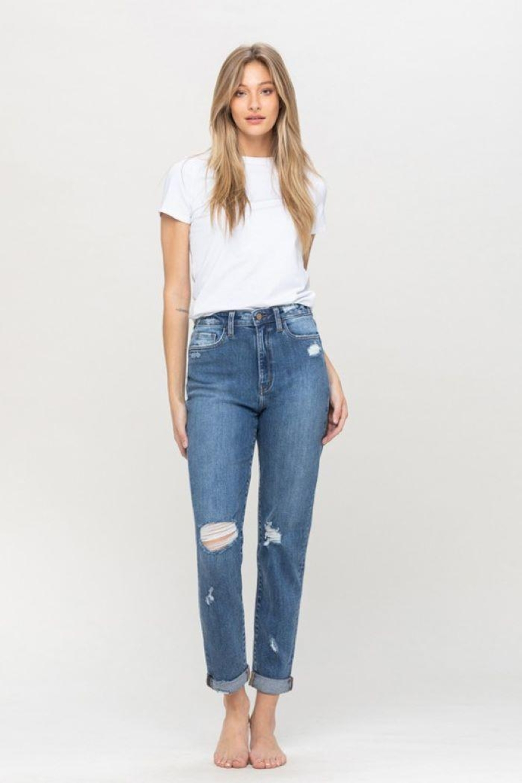 Flying Monkey Distressed Double Cuffed Stretch Mom Jean - Side Cropped Image