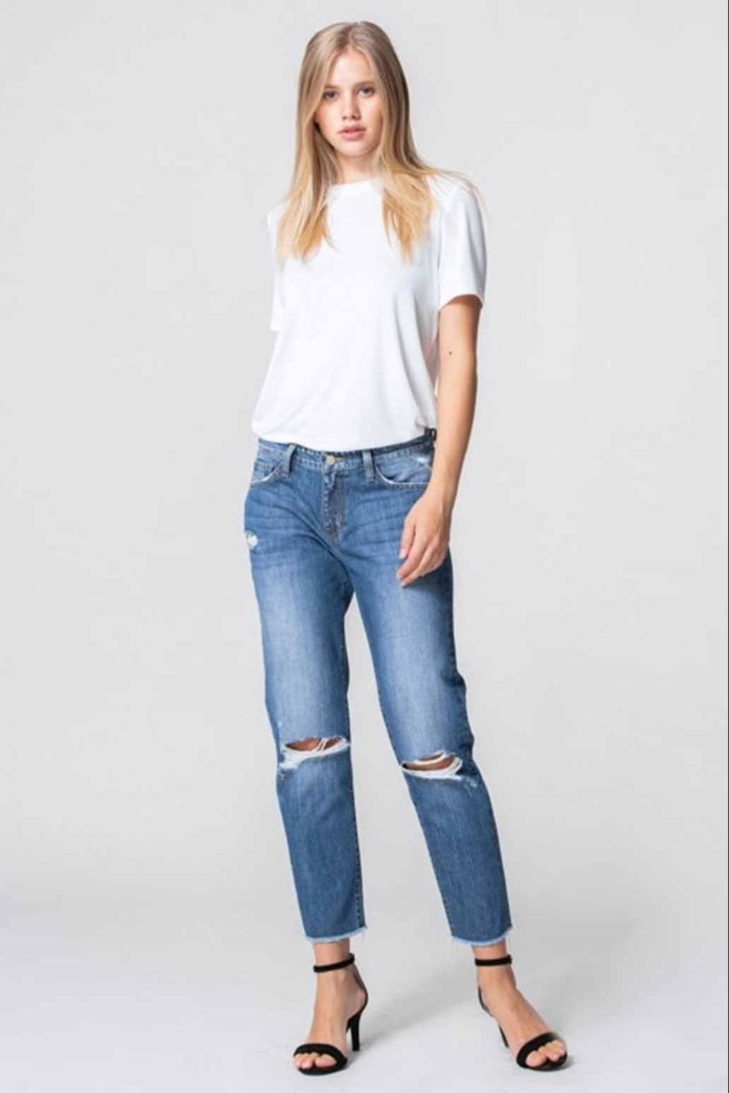 Flying Monkey Distressed Mom Jeans - Front Full Image
