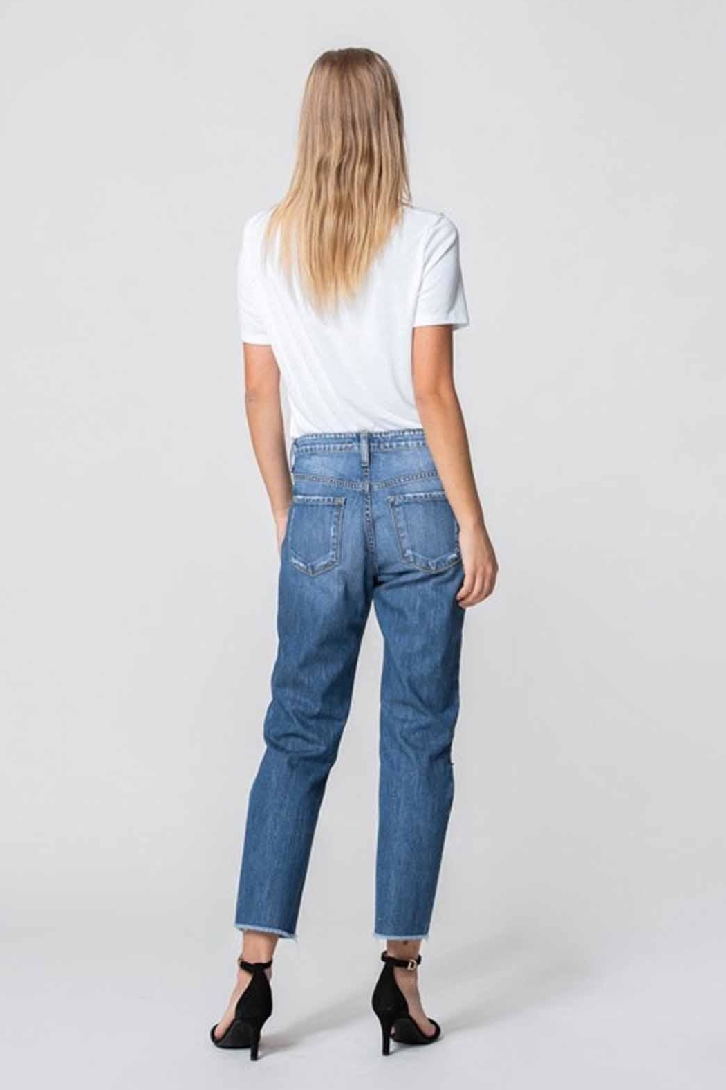 Flying Monkey Distressed Mom Jeans - Side Cropped Image