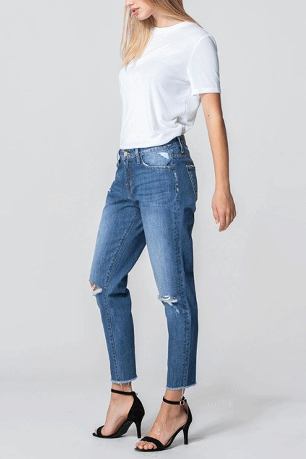 Flying Monkey Distressed Mom Jeans - Main Image