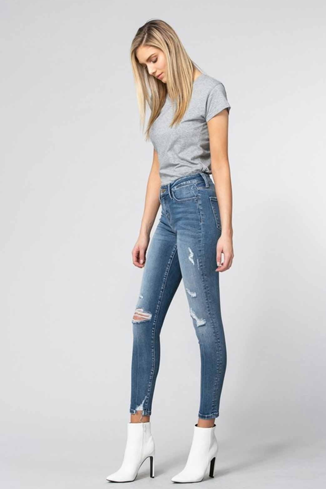 Flying Monkey Distressed Skinny Jeans - Front Full Image