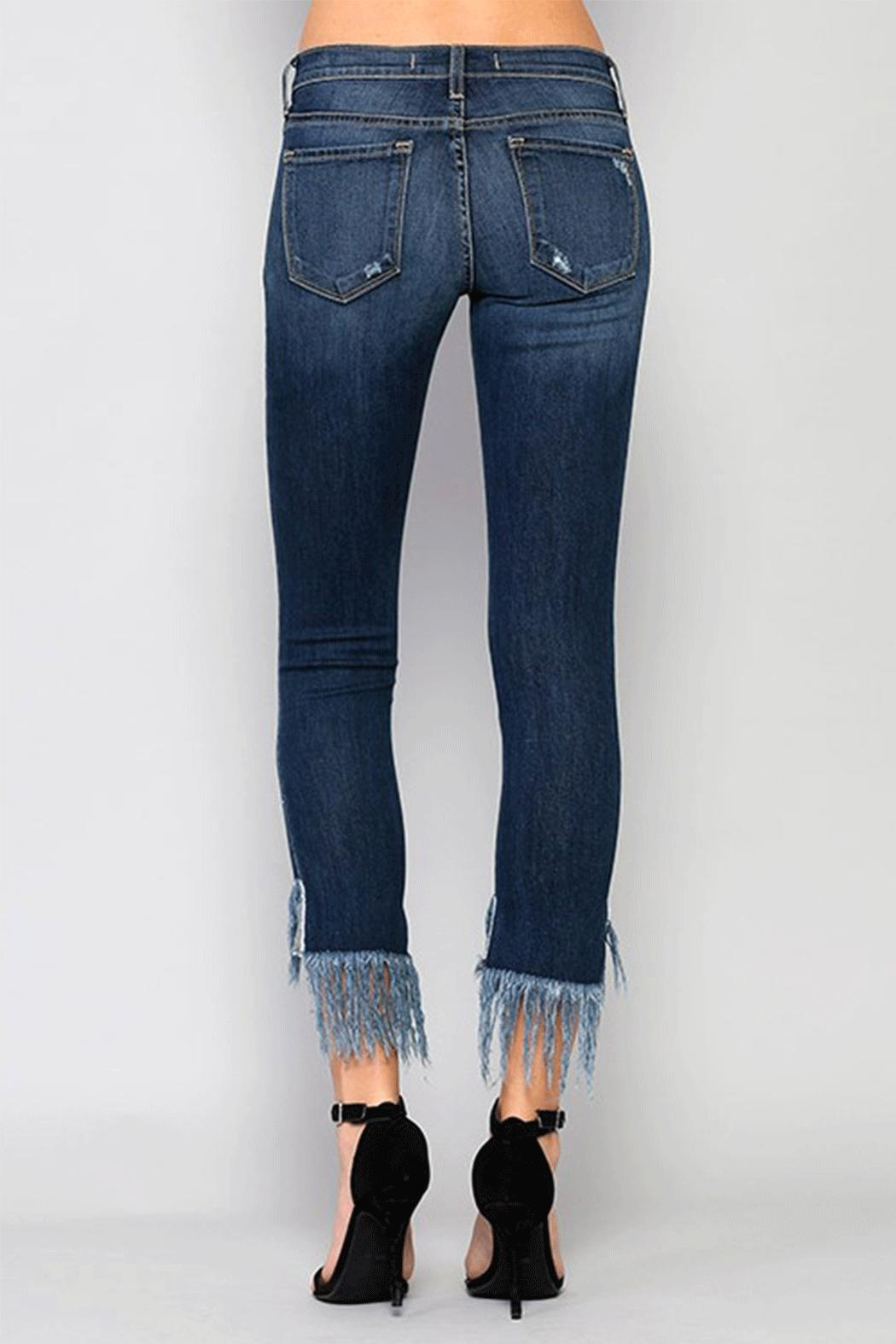 Flying Monkey Fringe Step Crop Jean - Back Cropped Image