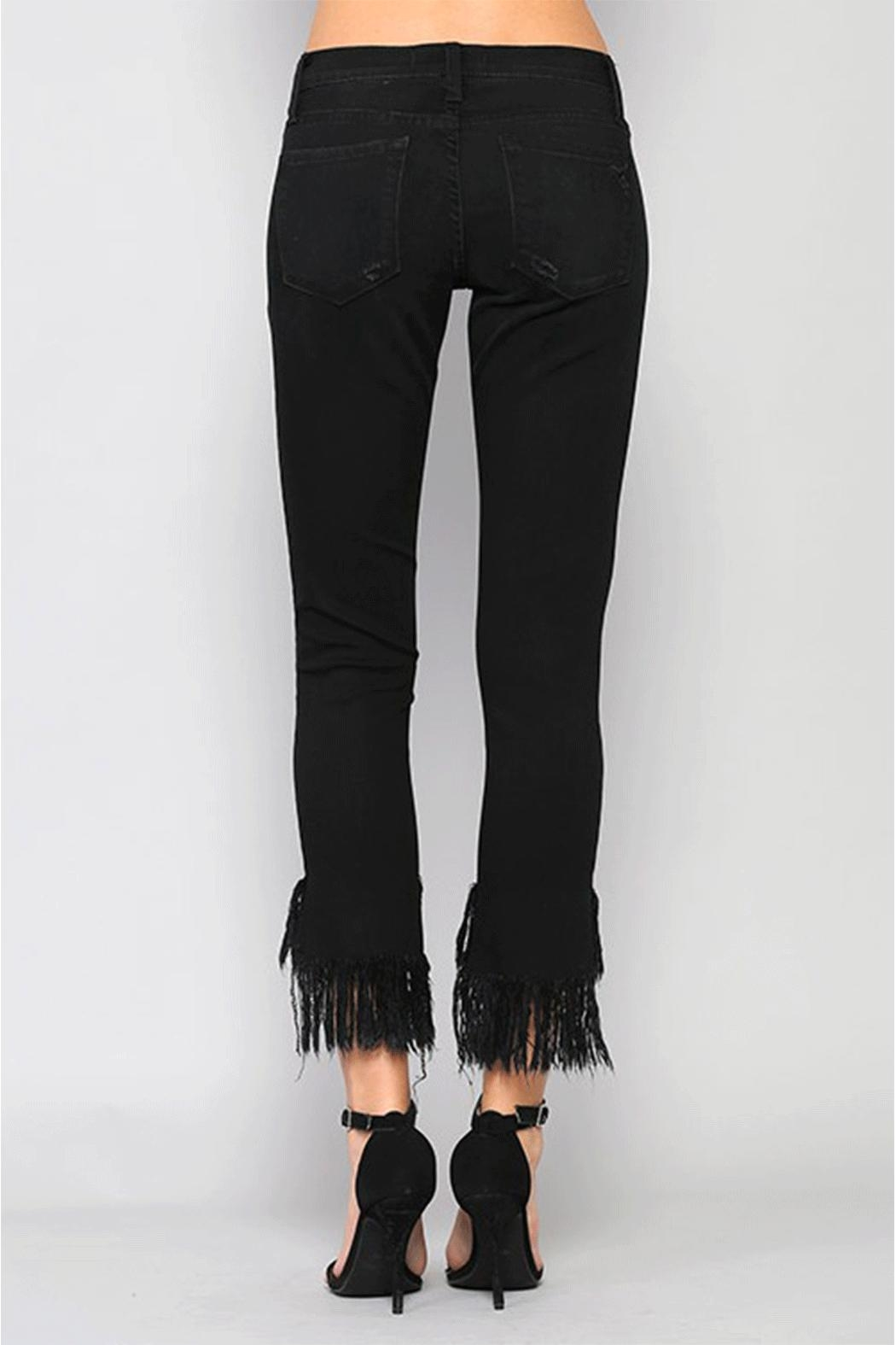 Flying Monkey Fringe Step-Hem Cropped-Jeans - Back Cropped Image