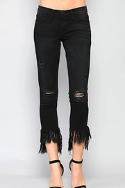 Flying Monkey Fringe Step-Hem Cropped-Jeans - Front cropped