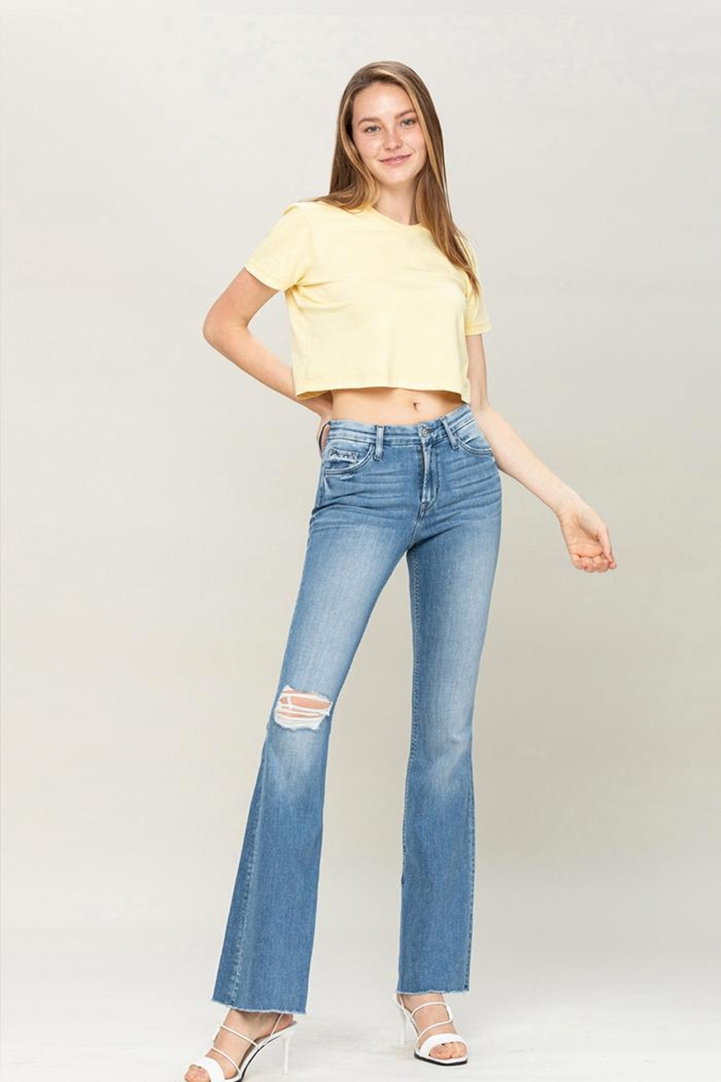 Flying Monkey Mid-Rise Flare Jeans - Front Full Image