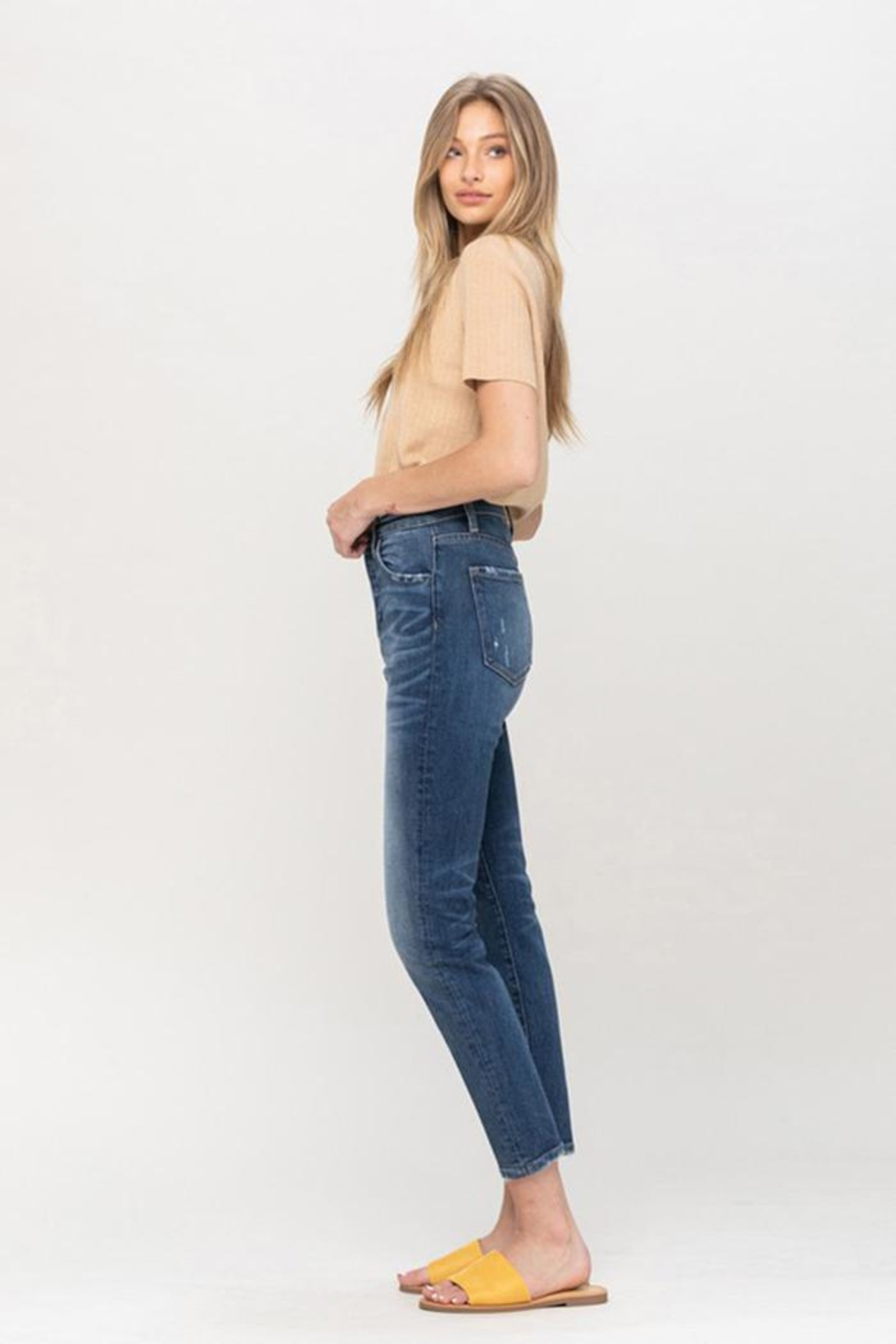 Flying Monkey Mom Stretch Jeans - Side Cropped Image