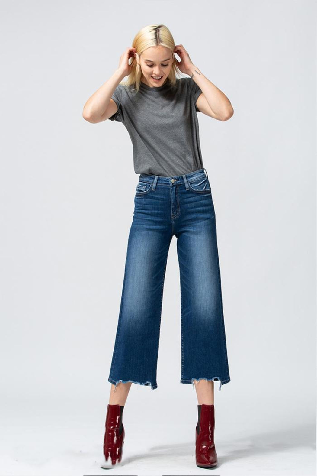 Flying Monkey Wide Leg Jeans - Front Cropped Image