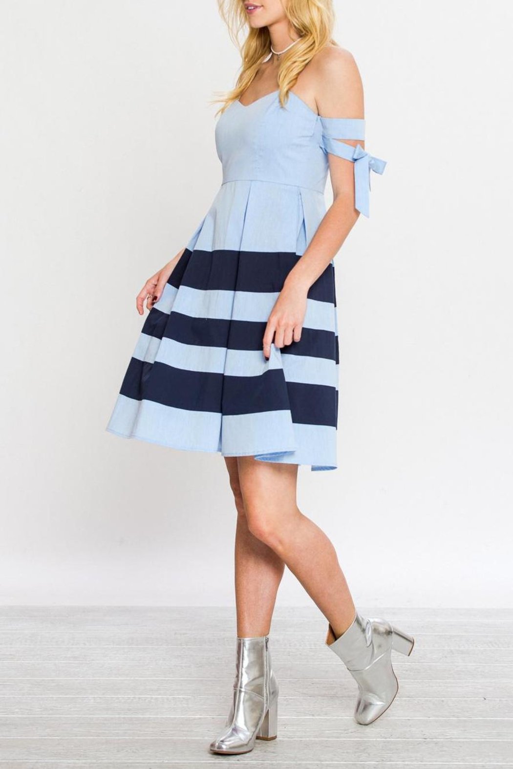 Flying Tomato A-Line Nautical Dress - Side Cropped Image