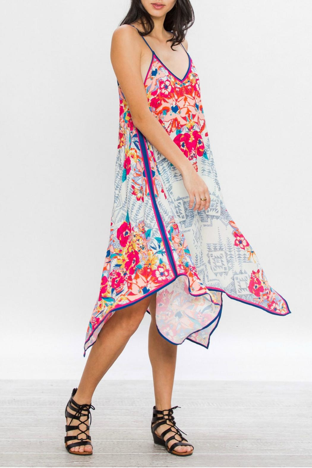 Flying Tomato Aztec Floral Dress - Front Full Image