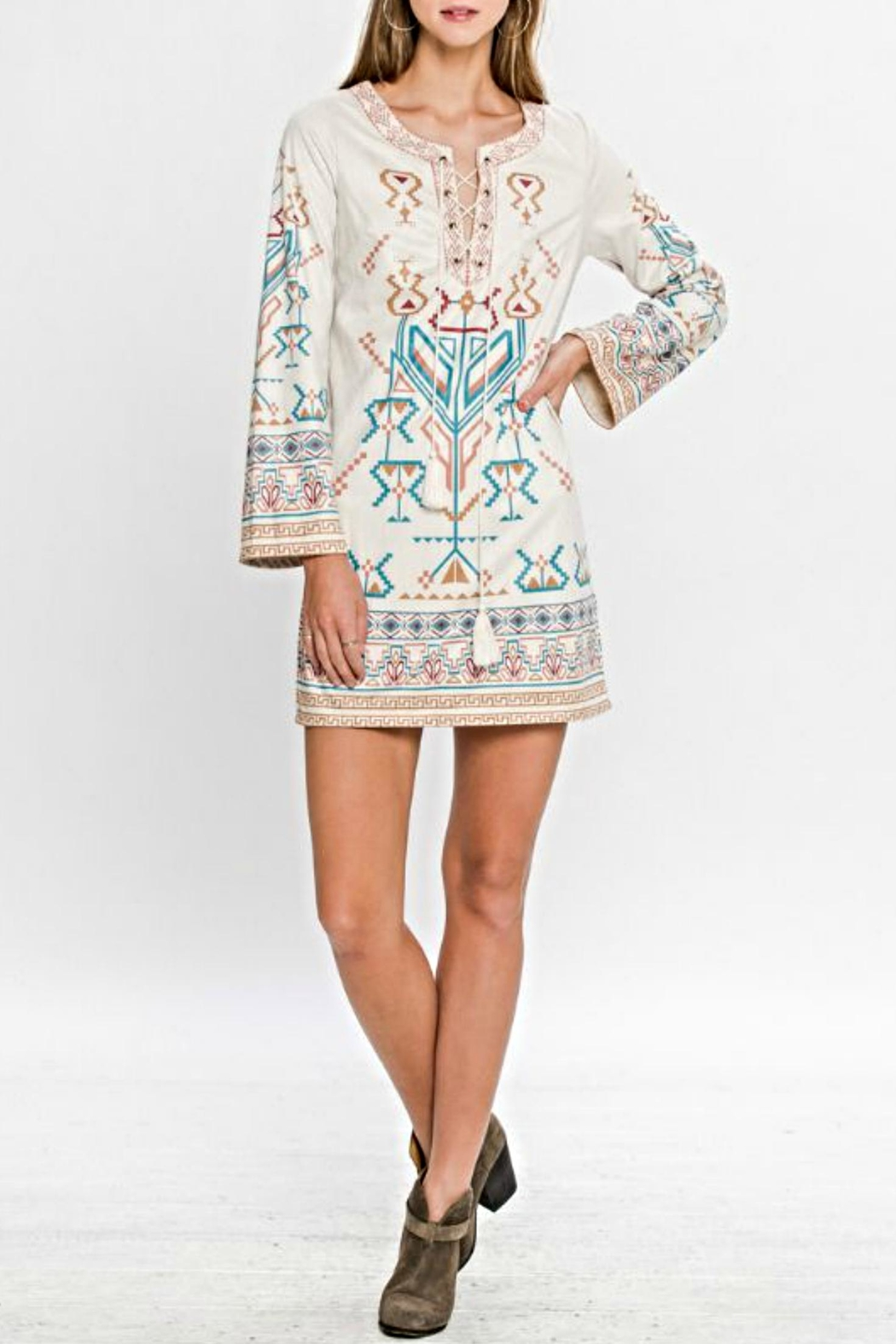 Flying Tomato Aztec Suede Dress - Main Image