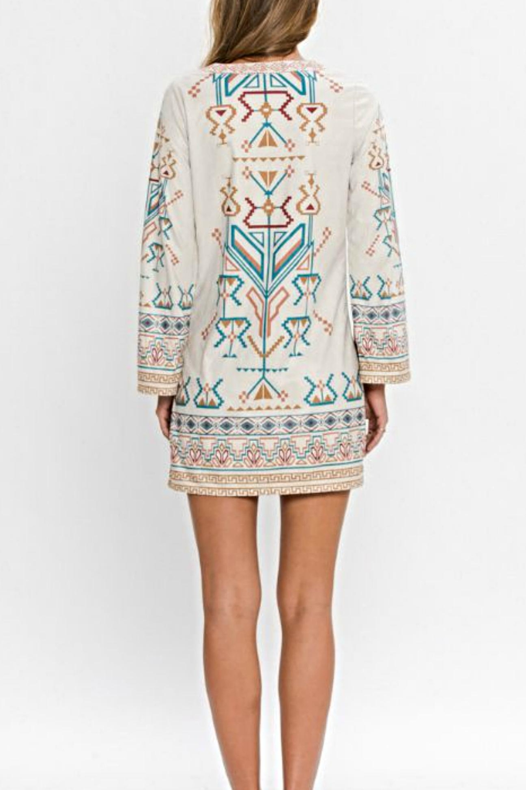 Flying Tomato Aztec Suede Dress - Front Full Image