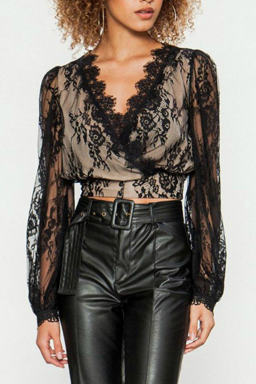 Flying Tomato Black Lace Top - Main Image