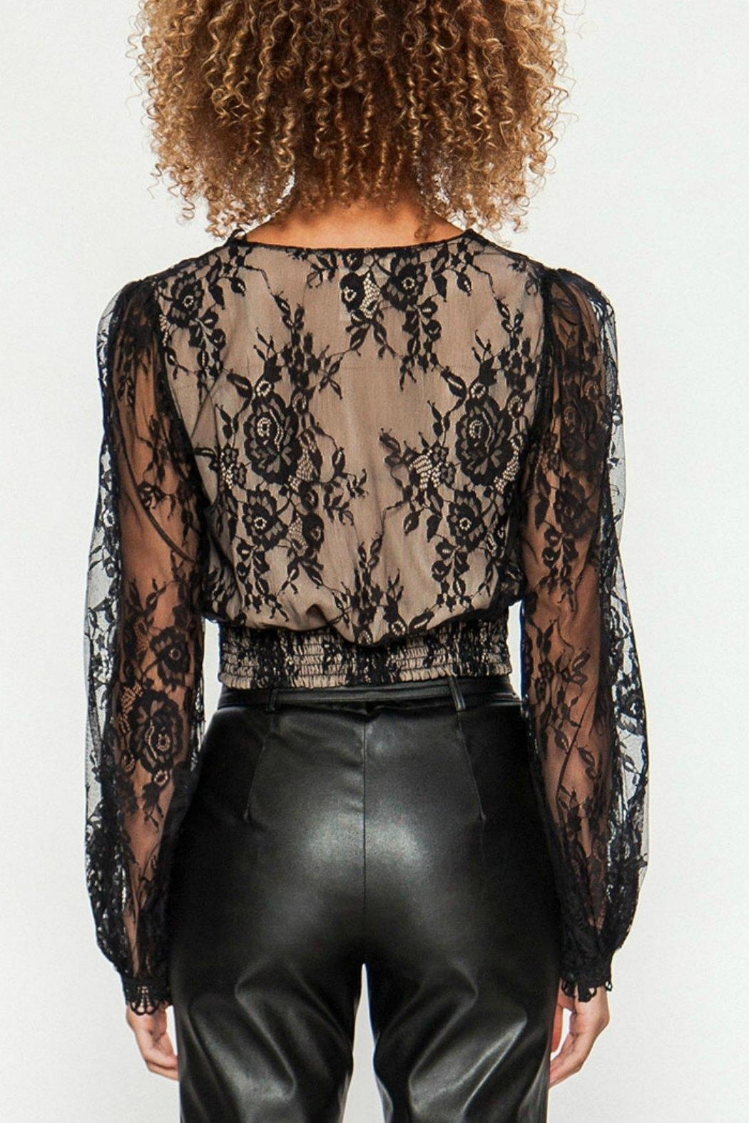 Flying Tomato Black Lace Top - Side Cropped Image