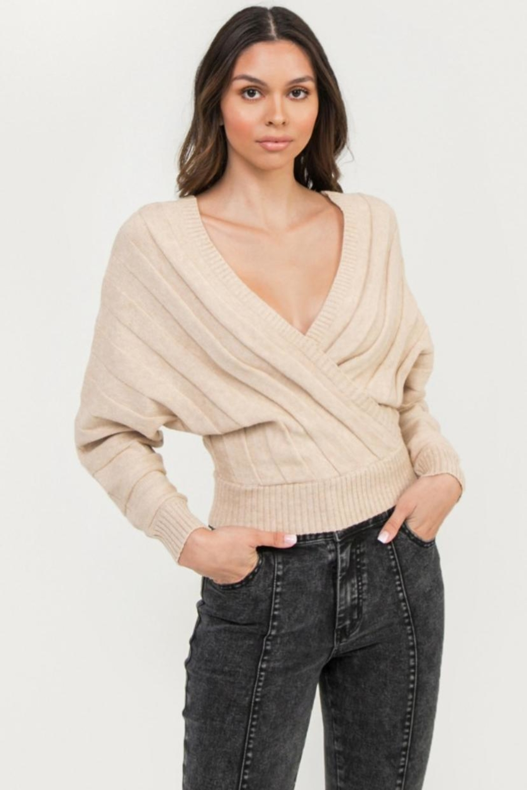 Flying Tomato Beige Sweater Top - Front Cropped Image