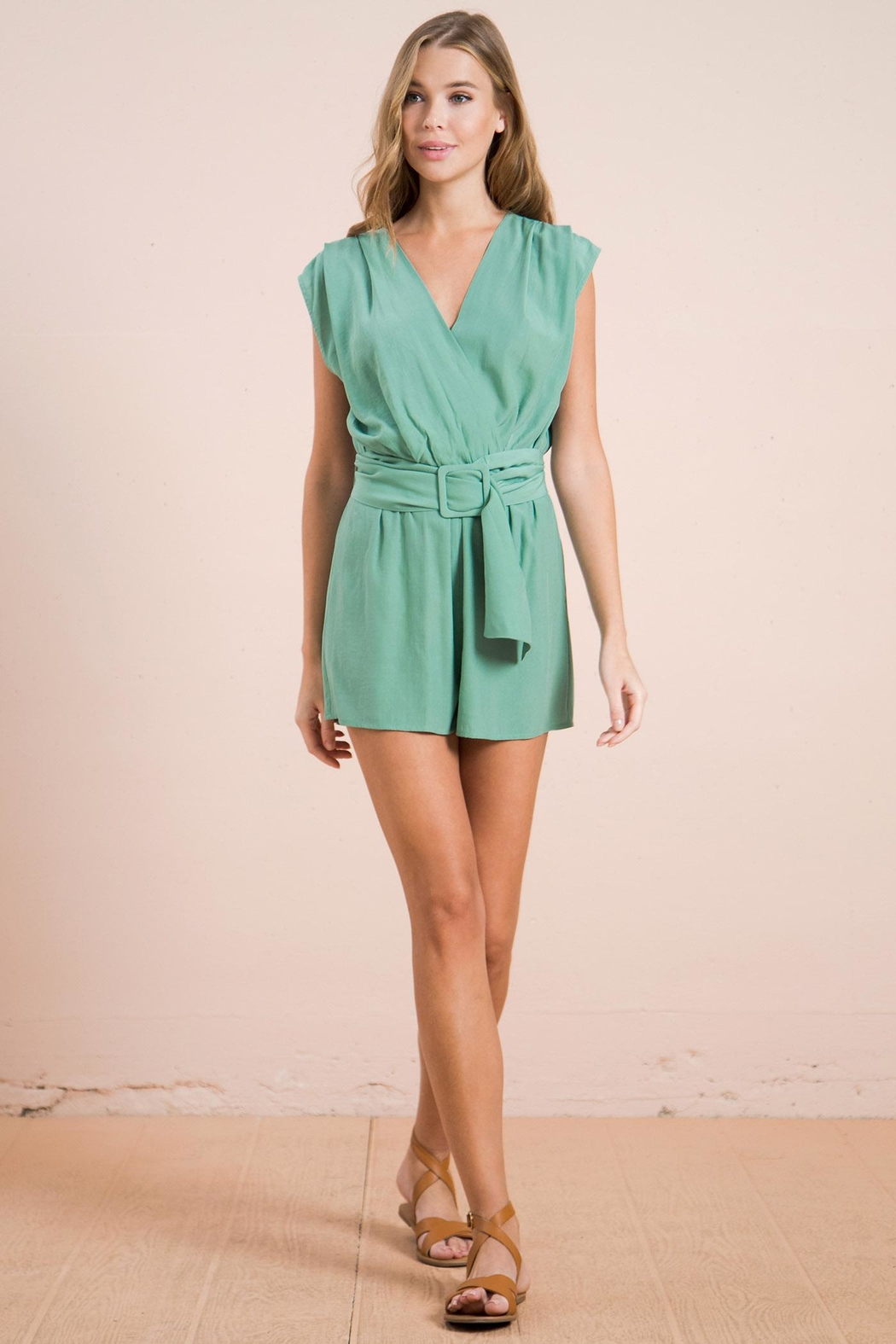 Flying Tomato Belted Sage Romper - Main Image