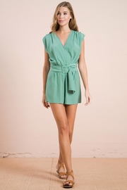 Flying Tomato Belted Sage Romper - Product Mini Image