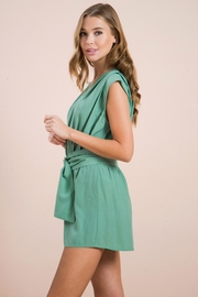 Flying Tomato Belted Sage Romper - Front full body