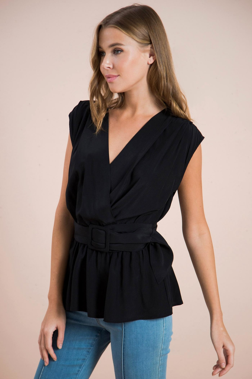 Flying Tomato Belted Wrapped Blouse - Front Full Image
