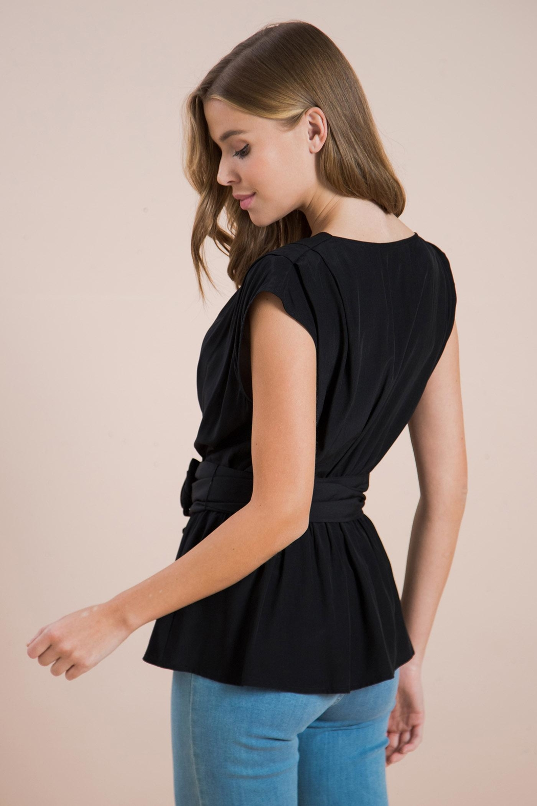 Flying Tomato Belted Wrapped Blouse - Side Cropped Image