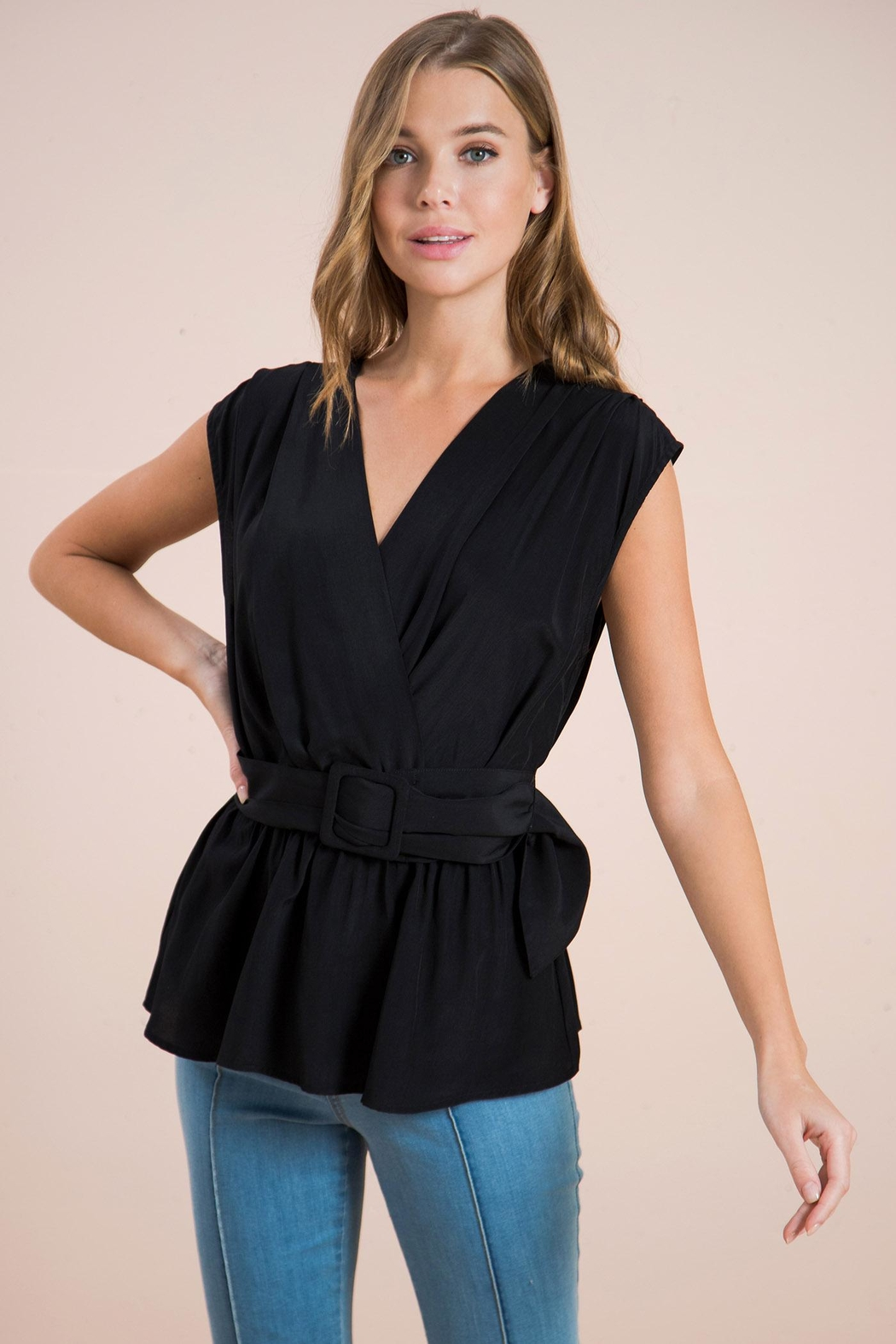 Flying Tomato Belted Wrapped Blouse - Main Image