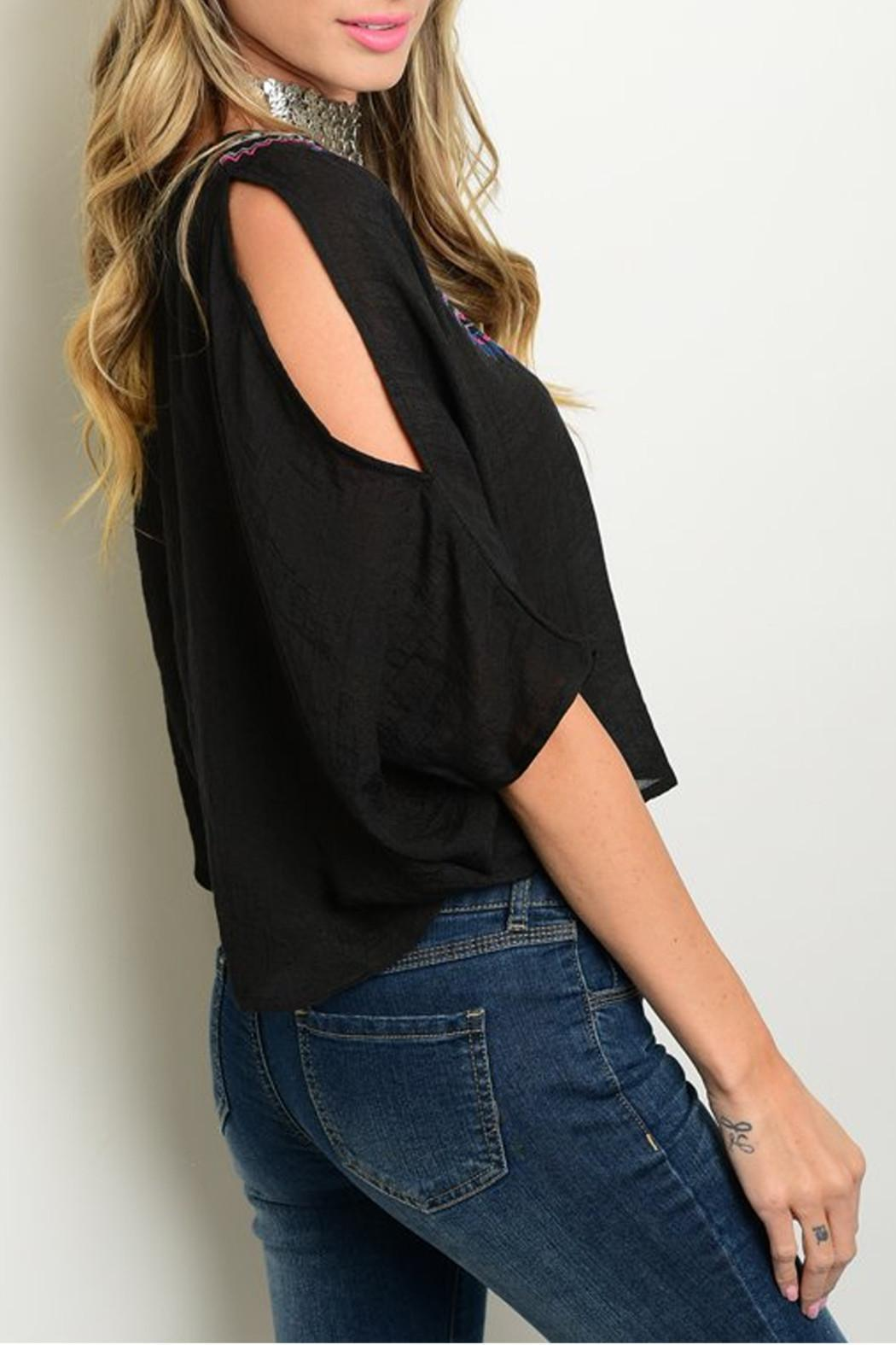 Flying Tomato Black Embroider Top - Front Full Image