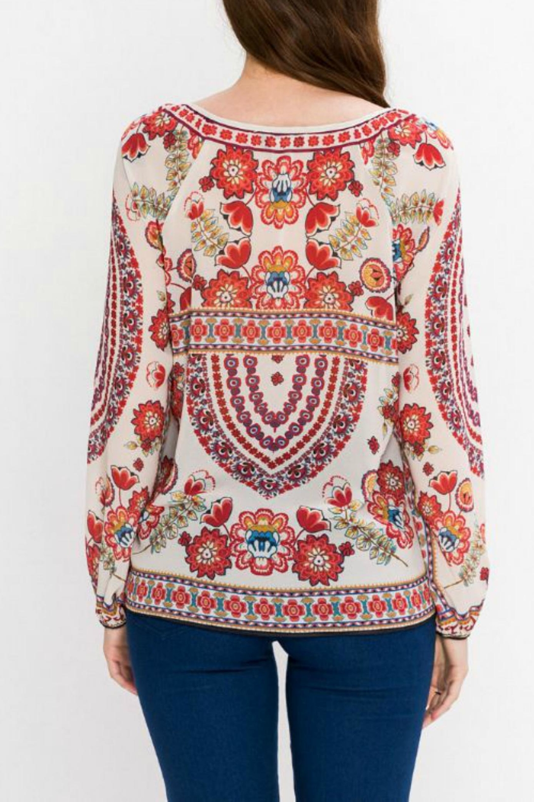 Flying Tomato Bohemian Tie Blouse - Front Full Image