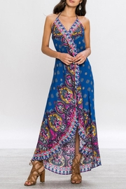 Flying Tomato Boho Maxi Blue Dress - Front cropped