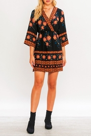 Flying Tomato Border Print Kimono Dress - Front full body