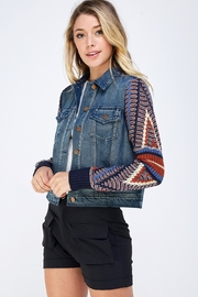 Flying Tomato Contrast Sleeve Jacket - Side cropped